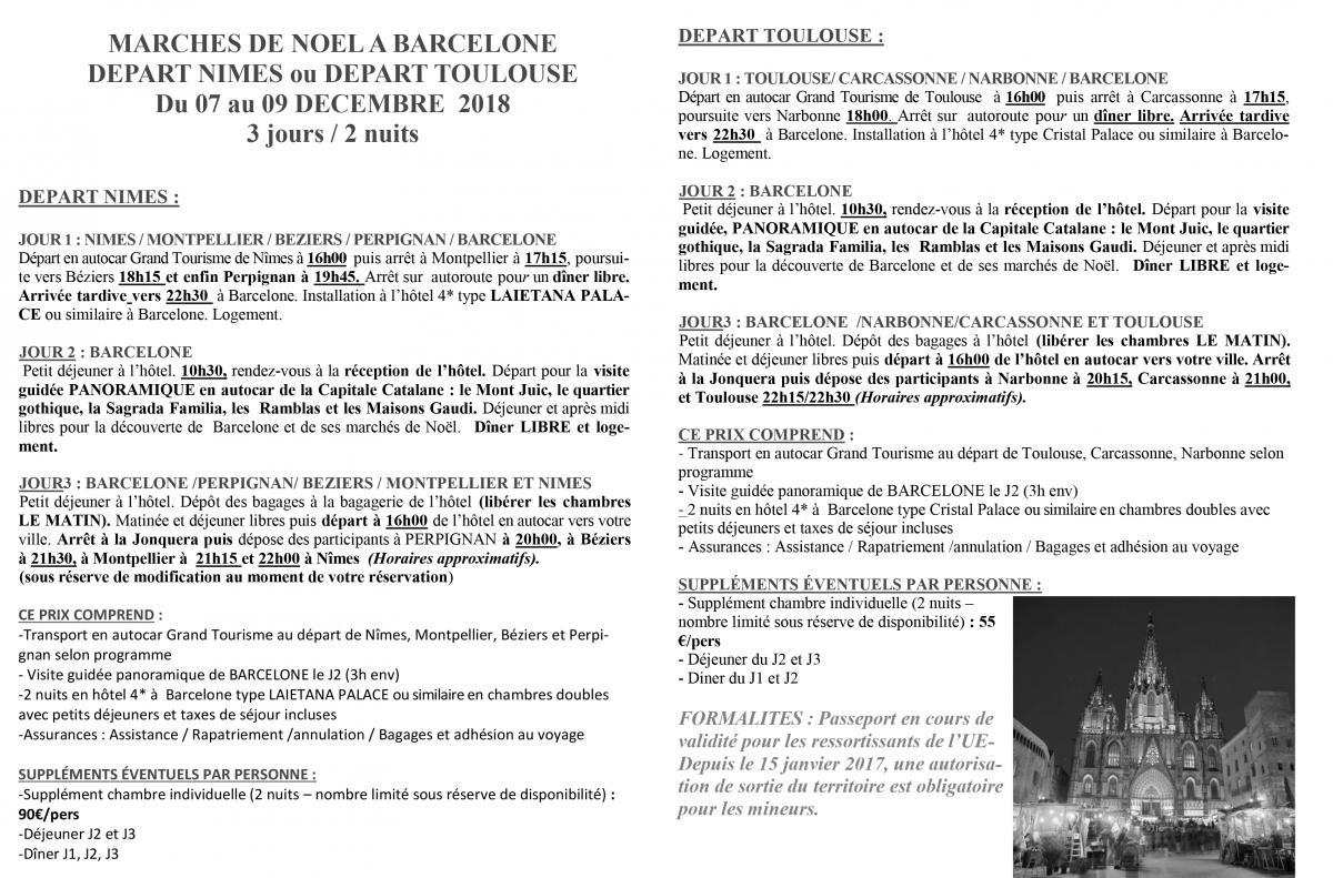 programme noel barcelone 2018 WE escapade BARCELONE MARCHE DE NOEL du 07 au 09 décembre 2018  programme noel barcelone 2018